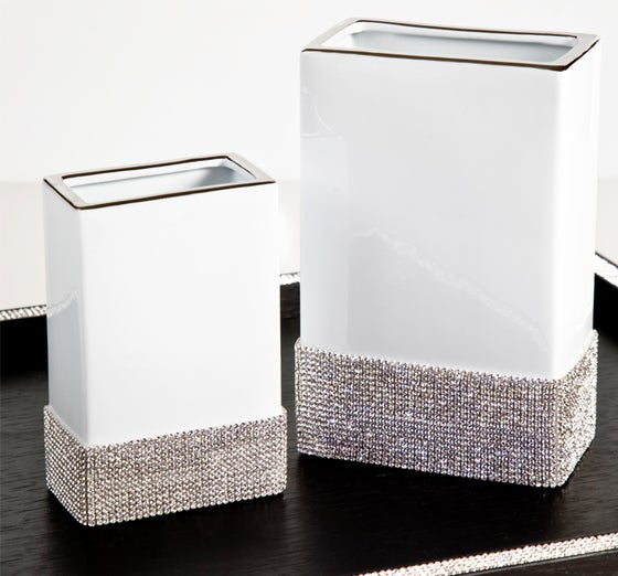 Image of Design Sophie Villepigue Paris DIVA White Limoges Vase with Swarovski®