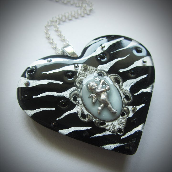 Image of Black/Silver Zebra Cameo Resin Heart Pendant