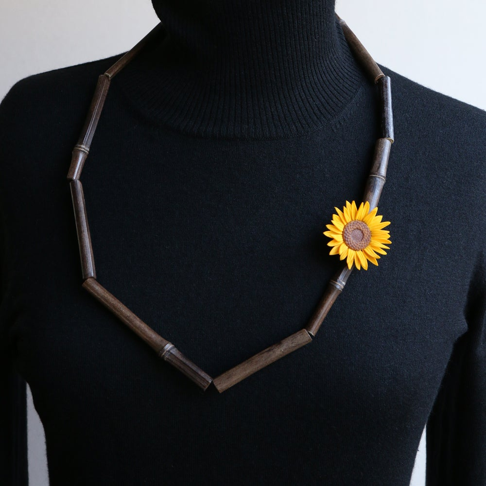 Image of 3D printed Bamboo Necklace Van Gogh Sunflower