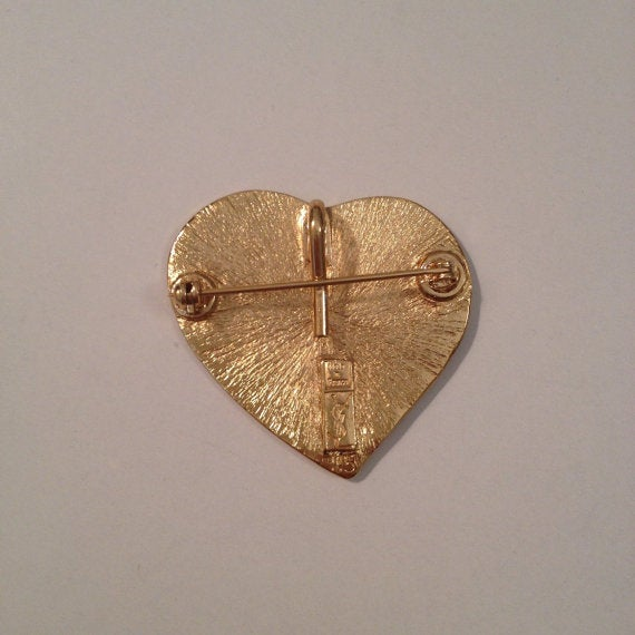 Image of SOLD OUT Yves Saint Laurent Authentic Vintage Signed Heart Brooch/Pendant
