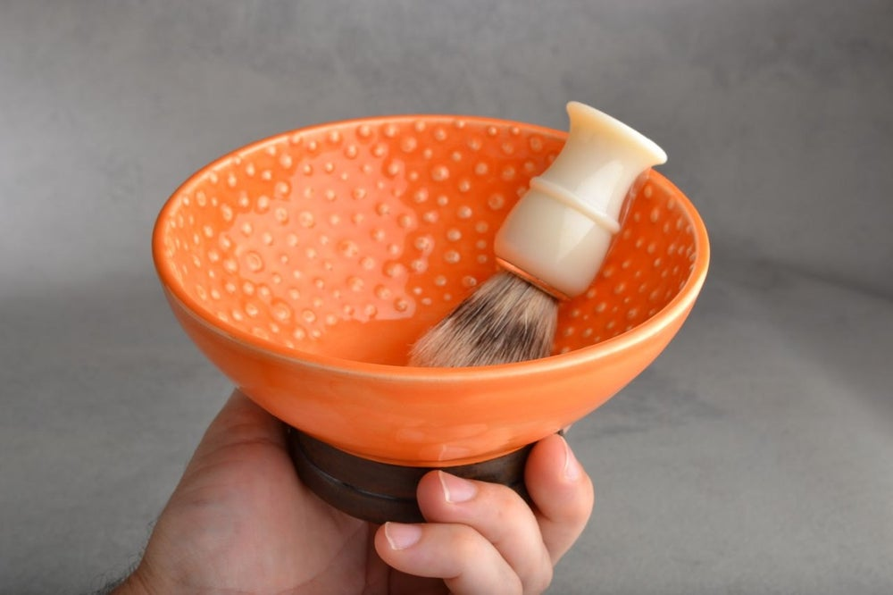 Image of Shaving Bowl Made To Order Orange Dottie Shaving Bowl by Symmetrical Pottery