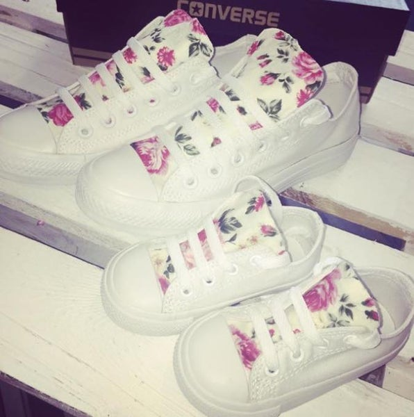 Image of Mother and Baby All White Floral Converse Set