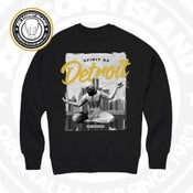 Image of Spirit of Detroit - Black Crewneck White/Black/Gold print