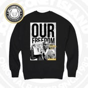 Image of Malcom X - Black CrewNeck White/Black/Gold print