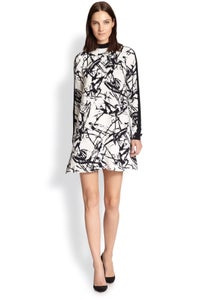 Image of A.L.C-Black Isley Brush Stroke-Print Silk Dress