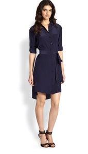 Image of DIANE VON FURSTENBURG-blue prita silk shirt dress