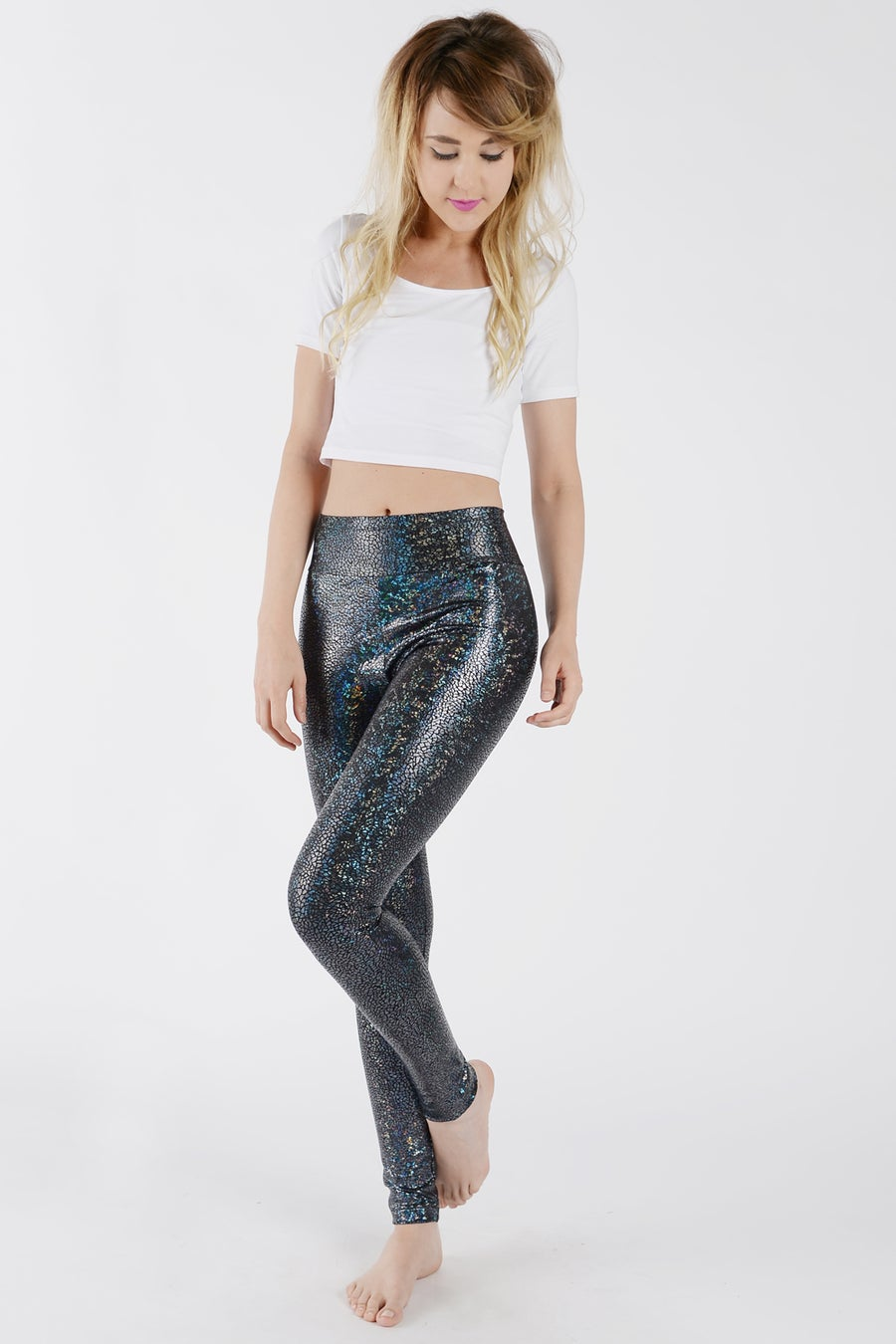 Image of Black Disco Mermaid High Waisted Leggings