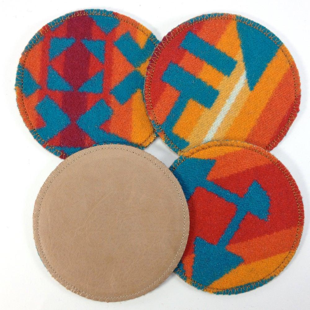Image of Wool & Leather Coasters - Orange/Turquoise
