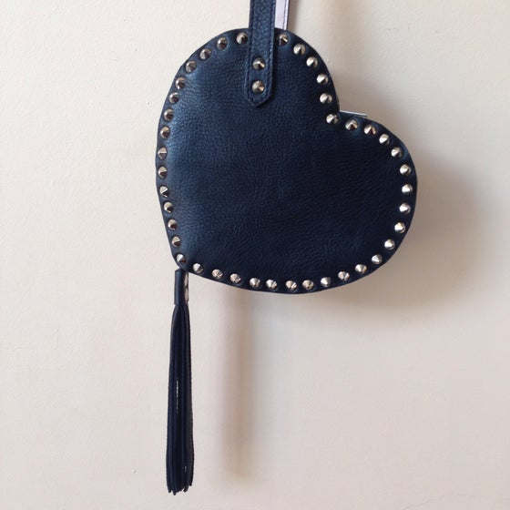 Image of Love hurts heart bag in black with studs