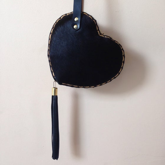 Image of Black hairy heart bag