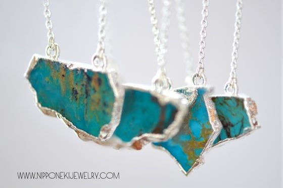 Image of Raw Turquoise Chunk Necklace - Sterling Silver Electroplated