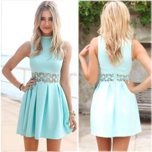 Image of CUTE BLUE VEST HOT DRESS WAIST LACE