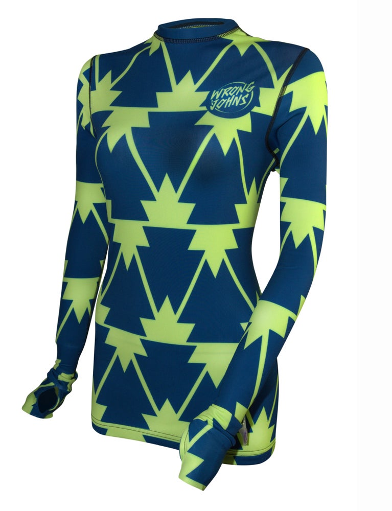 Image of Womens Blue/Neon Trees Thermal Top