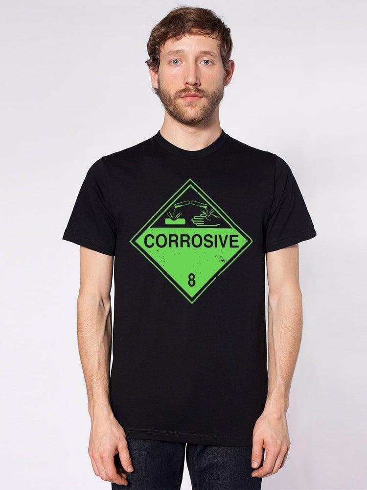 Image of Corrosive Warning T - Sci-fi Industrial Hazardous Shirt