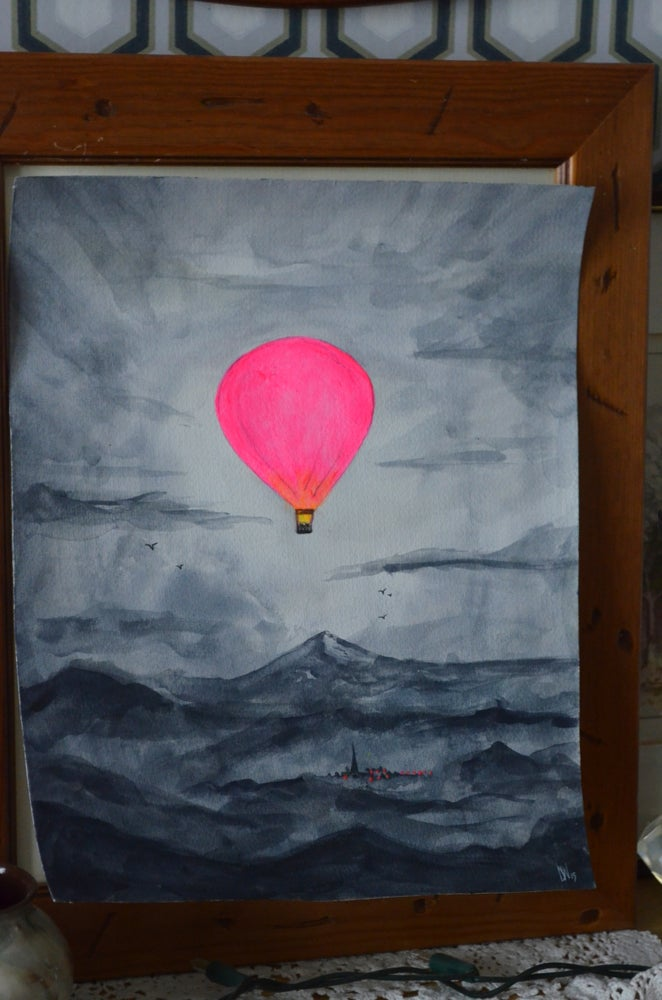 "Image of Monochrome Watercolour With Neon Hot Air Balloon... ""Rise Above it All"""