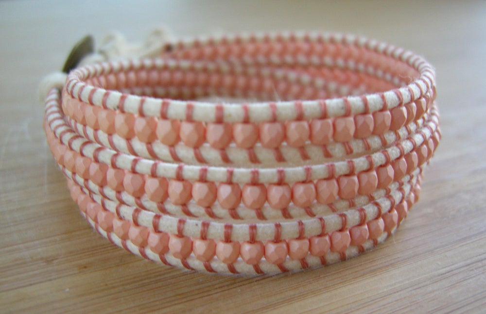 Image of Peach Triple Cotton Wrap Bracelet
