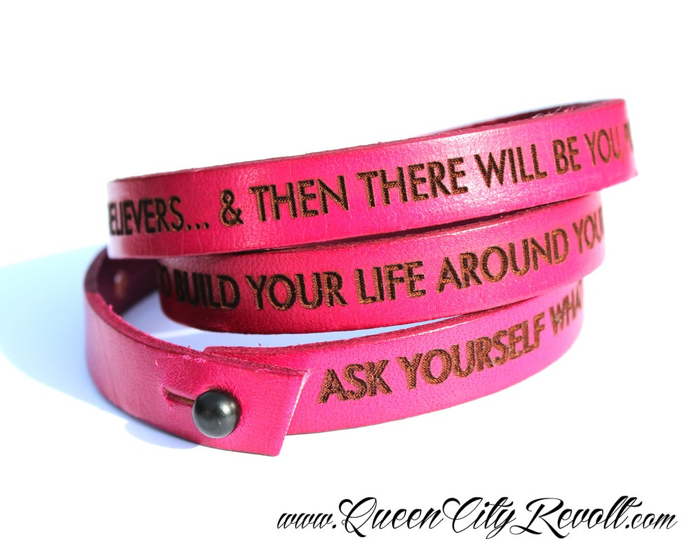 Image of Pink Leather Custom Engraved Wrap Bracelet, Block Text