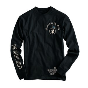 "Image of ""The Night Shift"" Black  long sleeve  T shirt"