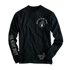 "Image of ""The Night Shift"" Black  long sleeve  T shirt"