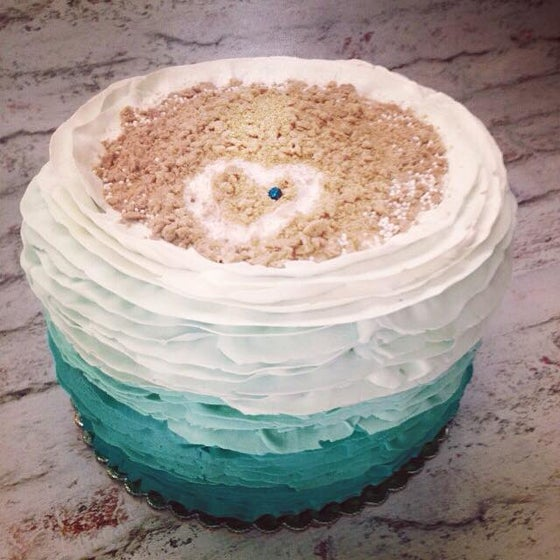 Image of Ruffle Ocean themed cake 8 inch round