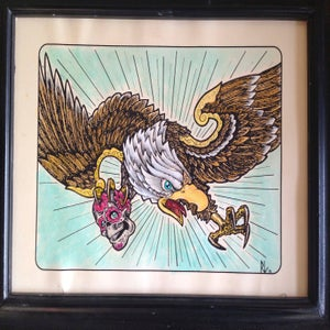 Image of EAGLE AND SKULL - Painting over print