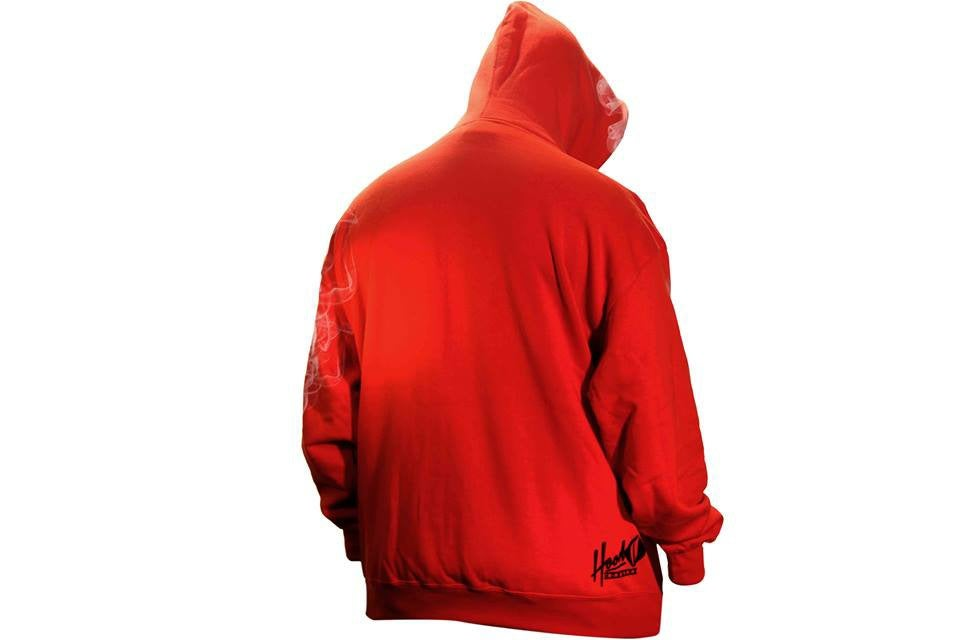 Image of SMOKABLE HOODIE - BLACK HOOD ON RED - BLACK PIPE