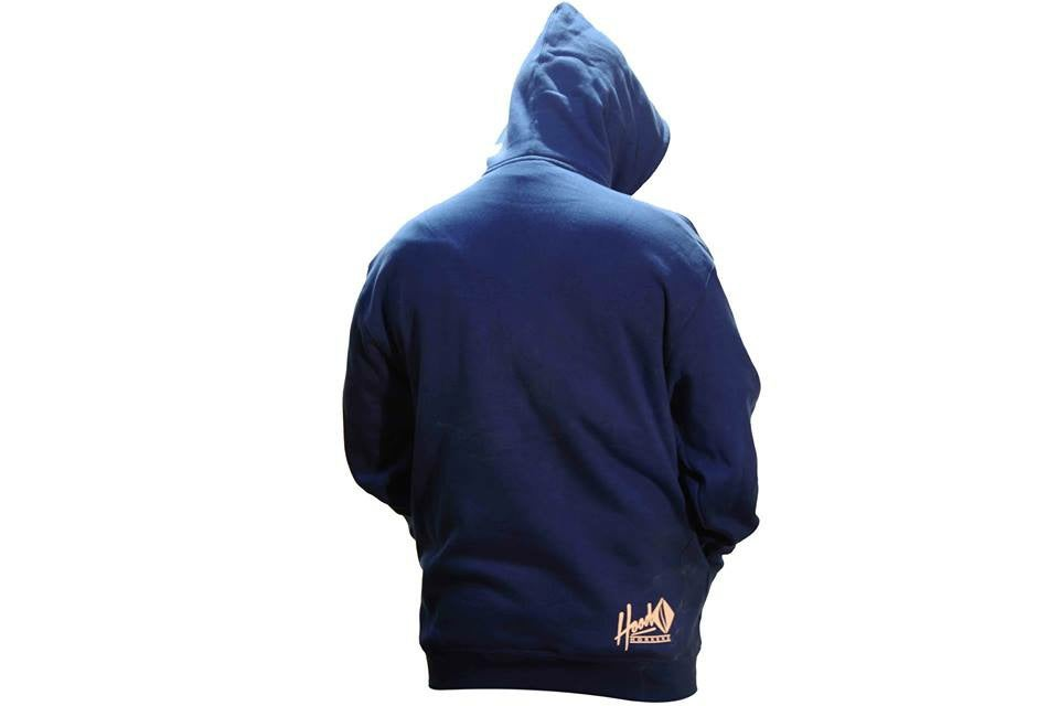 Image of SMOKABLE HOODIE - WHITE HOOD ON ROYAL BLUE- BLACK PIPE