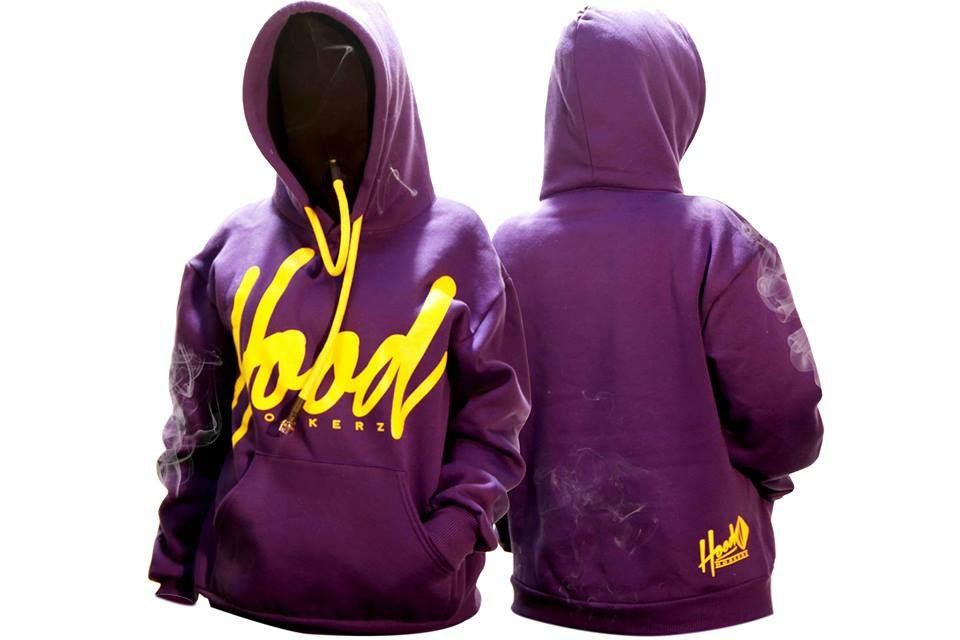 Image of SMOKABLE HOODIE - YELLOW HOOD ON PURPLE - YELLOW PIPE