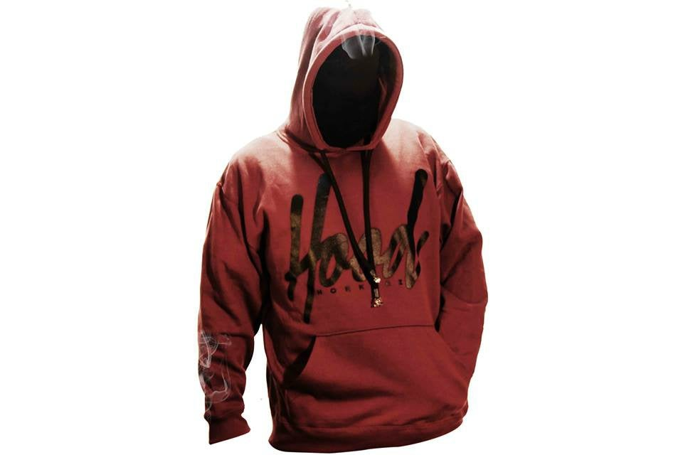 Image of SMOKABLE HOODIE - BLACK HOOD ON MAROON - BLACK PIPE