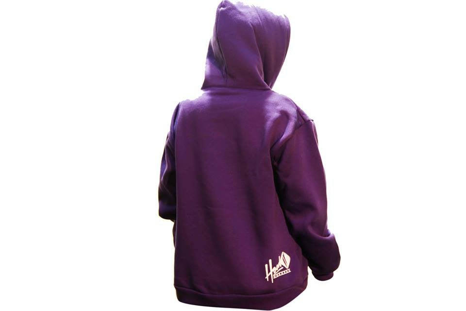 Image of SMOKABLE HOODIE - WHITE HOOD ON PURPLE - WHITE PIPE