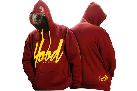 Image of SMOKABLE HOODIE - YELLOW HOOD ON MAROON -  YELLOW PIPE