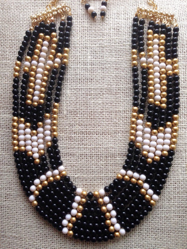 Image of Cross Beaded Necklace Set