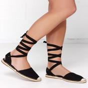 Image of Leg Wrap espadrilles in black