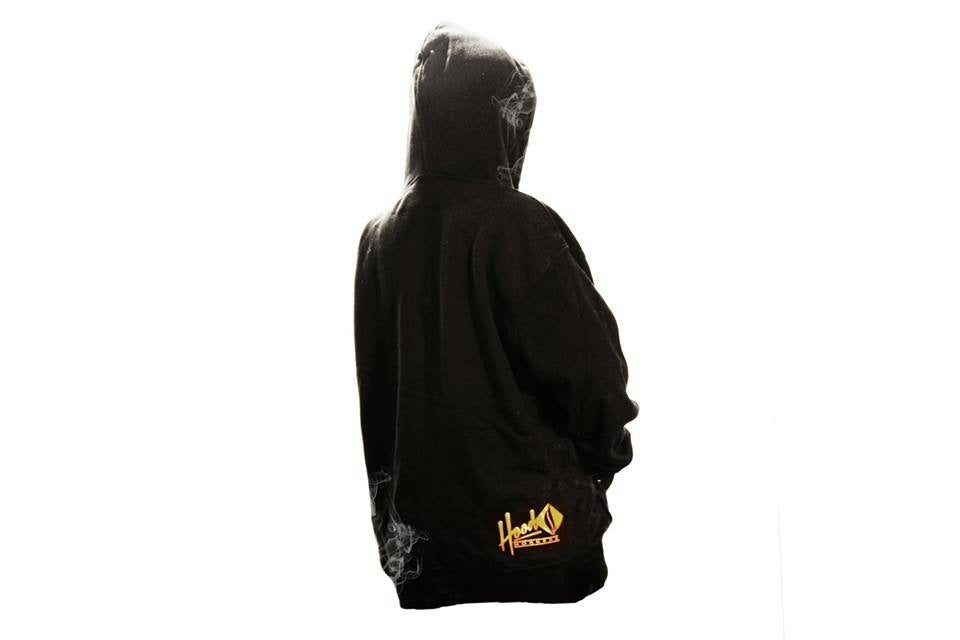 Image of SMOKABLE HOODIE - RED & GOLD TEAM LOGO ON BLACK - BLACK PIPE