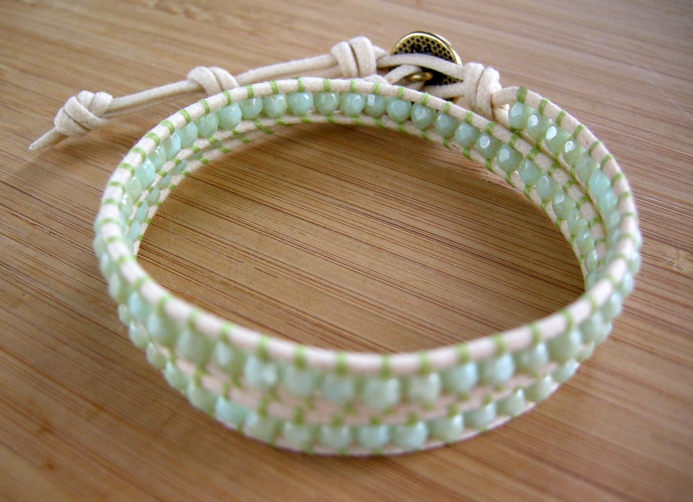 Image of Spring Green Cotton Wrap Bracelet