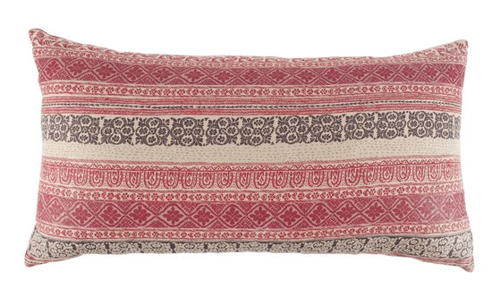 Image of Keltic Stripe Aubergine Bolster with Vintage Ralli Back