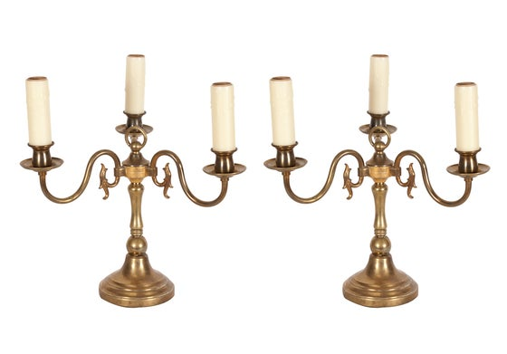 Image of Vintage Brass Candlestick Lamps - Pair