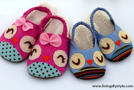 Image of Owl and Chicks Kid's Slipper Sewing Pattern