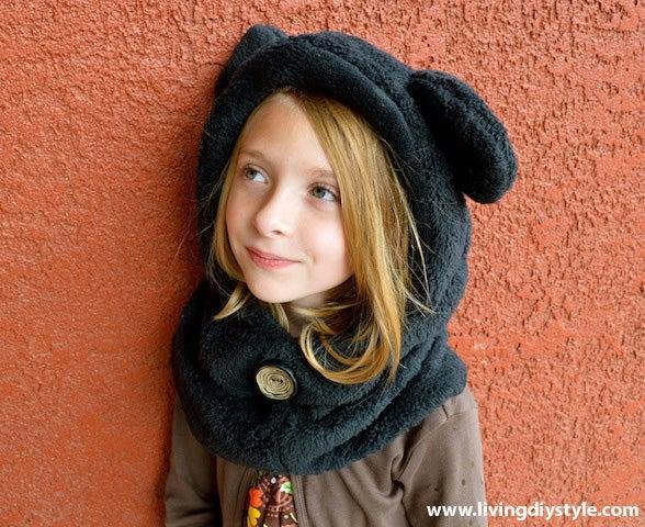 Image of Hoodie Cowl Animal Hat Sewing Pattern
