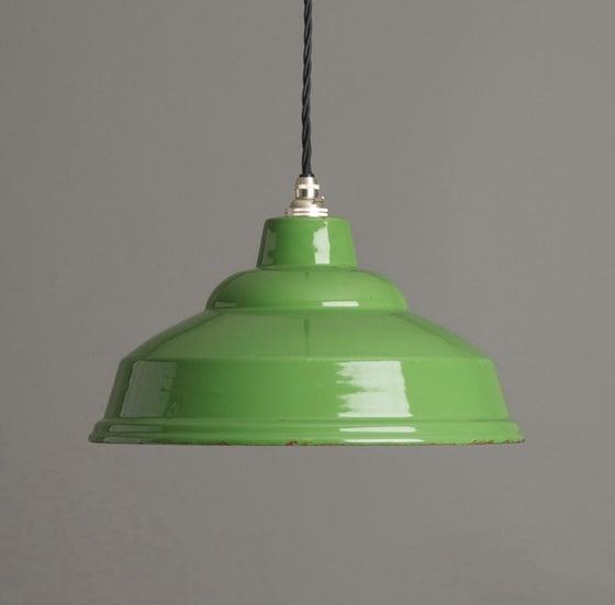 Image of Green Enamel Industrial Pendant Light