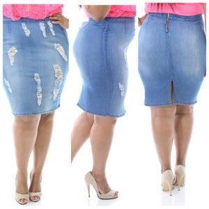 "Image of ""Distressed Denim Skirt"""
