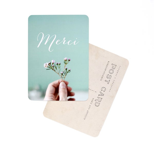 Image of Carte Postale MERCI / FLOWERS AND MINT
