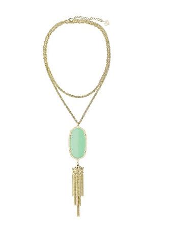 Image of Bohemian Tassel Pendant Necklace :: Mint