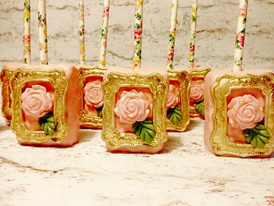 Image of vintage rose in frame rice krispy treat