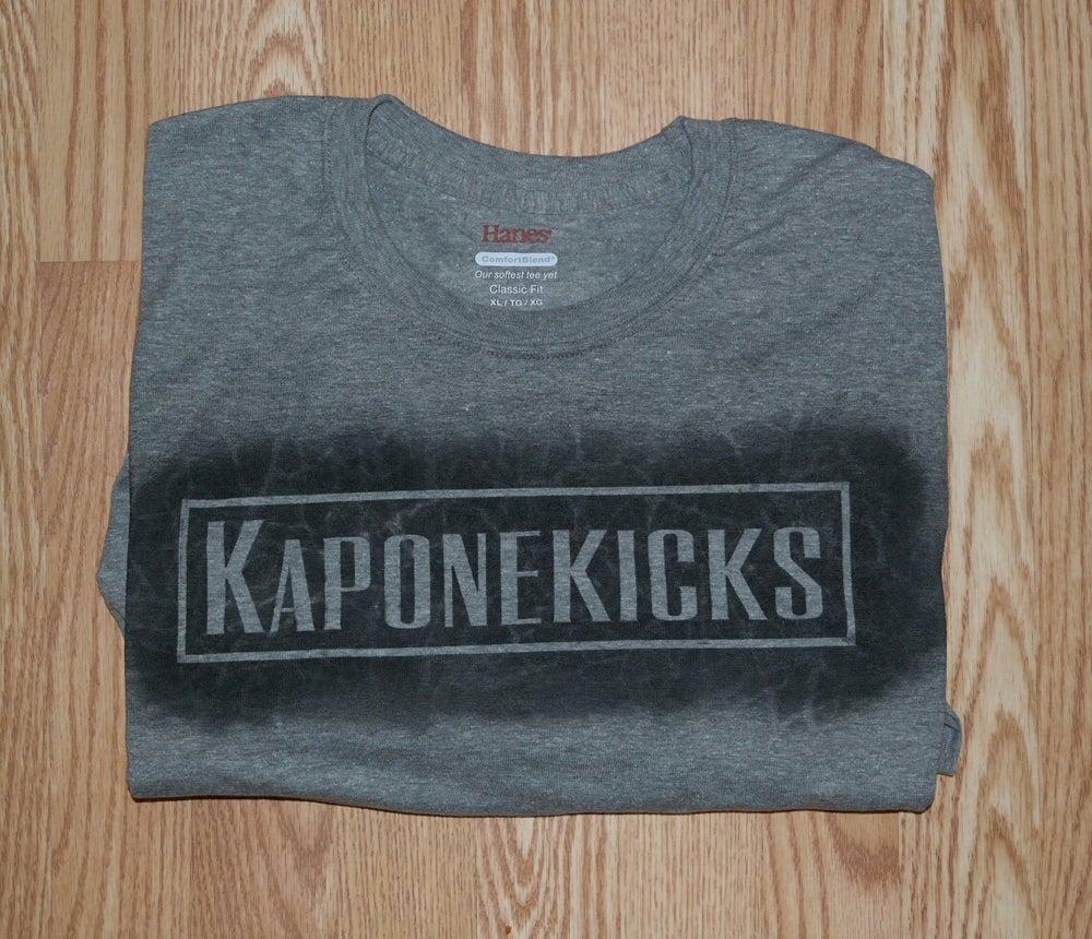 Image of Gray Kaponekicks T-shirt front logo
