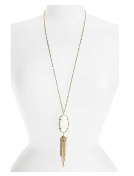 Image of Bohemian Tassel Pendant Necklace :: White Pearl