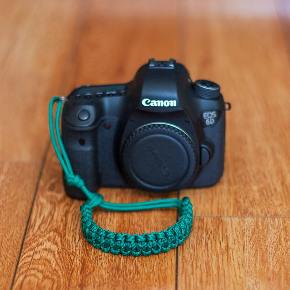 Image of Green adjustable camera wrist strap