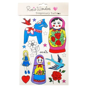 Image of Rosie Wonders Temporary Tattoos Russian Doll (girls) or Dinosaur (boys) designs.