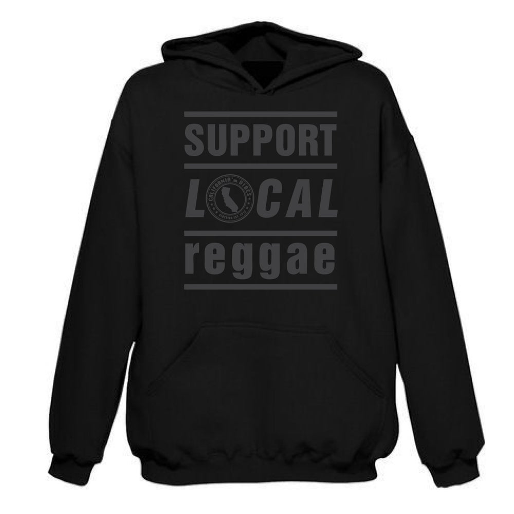 Image of ***RESTOCKED*** SUPPORT LOCAL REGGAE BLACKOUT BLACK HOODIE