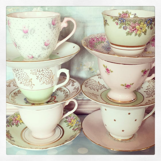 """Image of Beautiful vintage 21 piece mismatched tea set """"Polkadots and Roses"""""""